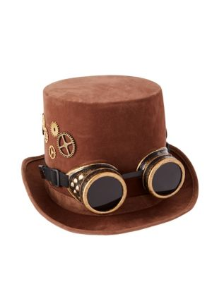 Steampunk Hats | Top Hats | Bowler Steampunk Top Hat With Goggles by Spirit Halloween $21.99 AT vintagedancer.com