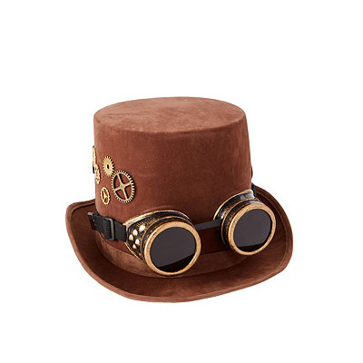 Men's Steampunk Costume Essentials Steampunk Top Hat With Goggles $19.99 AT vintagedancer.com