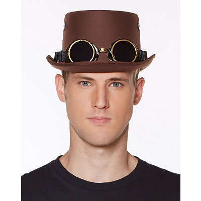 Retro Vintage Style Hats Steampunk Top Hat With Goggles $19.99 AT vintagedancer.com