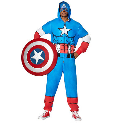 1940s Men's Costumes: WW2, Sailor, Zoot Suits, Gangsters, Detective Adult Hooded Captain America Pajama Costume - Marvel $39.99 AT vintagedancer.com