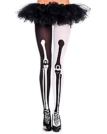 Mismatch Skeleton Print Tights