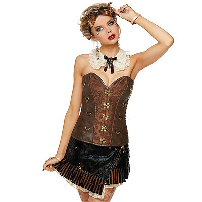 Steampunk Corsets and Belts Brown Steampunk Corset $39.99 AT vintagedancer.com