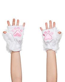 Kids Faux Fur White Kitty Paws