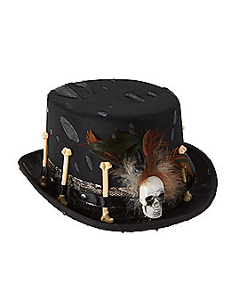 Witch Doctor Faux Feather Top Hat