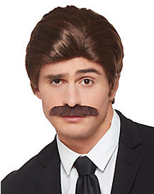 Brown 70's Wig and Mustache