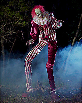 6.5 Ft Towering Creepy Clown Animatronics - Decorations