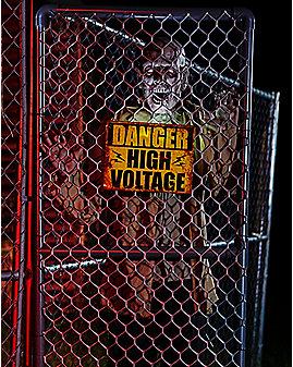 5 Ft Fenced In Hi-Voltage Zombie Animatronics - Decorations