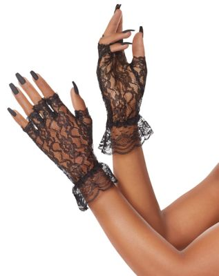 Vintage Style Gloves- Long, Wrist, Evening, Day, Leather, Lace Black Lace Ruffle Gloves by Spirit Halloween $6.99 AT vintagedancer.com