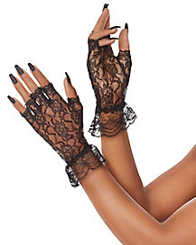 Black Lace Ruffle Gloves