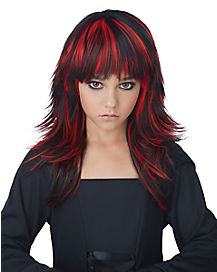 Kids Red and Black Tresses Wig
