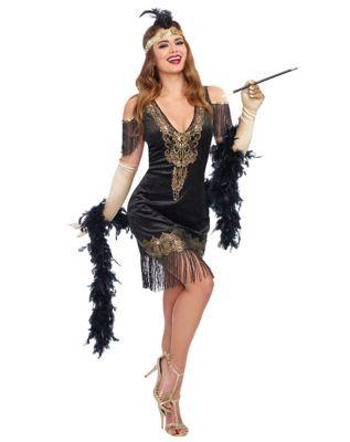 Adult Swanky Flapper Costume  sc 1 st  Spirit Halloween & Adult Black Charleston Cutie Flapper Plus Size Costume ...