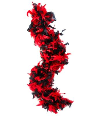 1920s Style Shawls, Wraps, Scarves Black and Red 20s Feather Boa by Spirit Halloween $9.99 AT vintagedancer.com