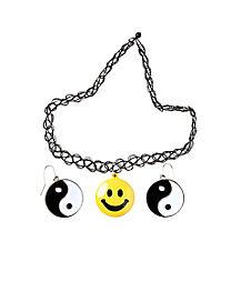 90's Smile Choker Ying Yang Earring Set
