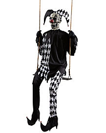 dark jester on a swing static prop decorations