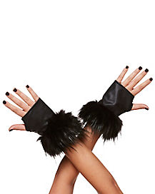 Black Faux Fur Cuff Fingerless Glove