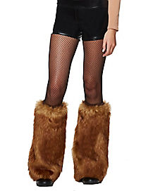 Brown Deer Furries Faux Fur Leg Warmers