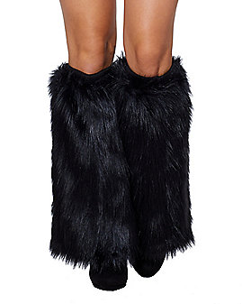 Black Cat Faux Fur Leg Warmers