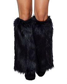 Black Cat Furries Faux Fur Leg Warmers