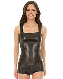 Black Faux Leather Racerback Corset