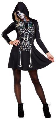 Vintage Retro Halloween Themed Clothing Skeleton Hooded Dress by Spirit Halloween $34.99 AT vintagedancer.com