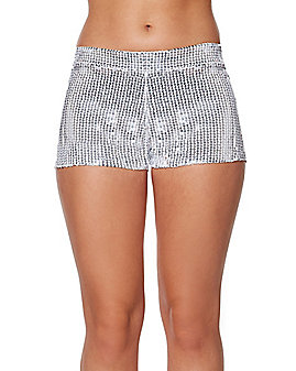 Adult White Sequin Shorts