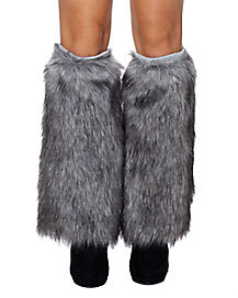 Grey Wolf Furries Faux Fur Leg Warmers