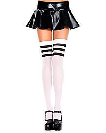 Black Stripe Athletic Thigh High Socks