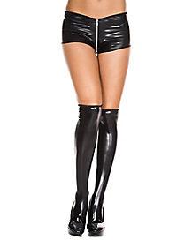 Black Wet Look Knee High Socks