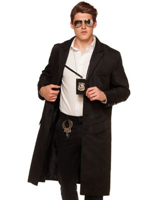 1940s Men's Costumes: WW2, Sailor, Zoot Suits, Gangsters, Detective Adult Black Jacket by Spirit Halloween $49.99 AT vintagedancer.com