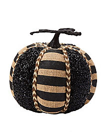 9 Inch Black Glitter Pumpkin - Decorations