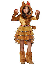 Kids Faux Fur Lion Dress Costume