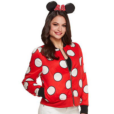 Retro Vintage Style Coats, Jackets, Fur Stoles Mickey  Minnie Mouse Reversible Bomber Jacket - Disney $49.99 AT vintagedancer.com
