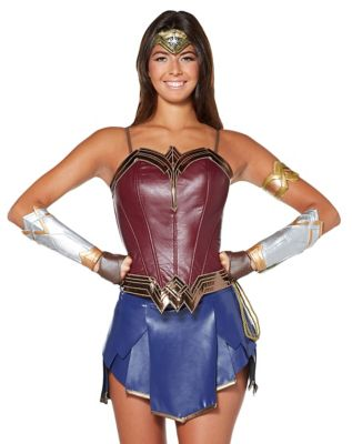 Steampunk Dresses | Women & Girl Costumes Adult Wonder Woman Corset - DC Comics by Spirit Halloween $36.99 AT vintagedancer.com
