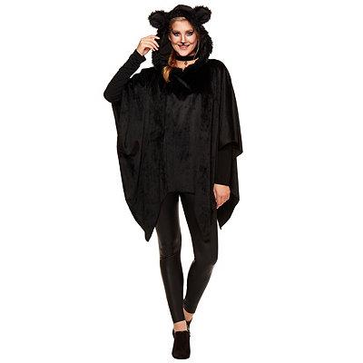 Vintage Retro Halloween Themed Clothing Faux Fur Black Cat Poncho $29.99 AT vintagedancer.com