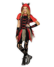 Kids Little Red Wolf Dress Costume