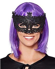 Intricate Black Glitter Eye Mask