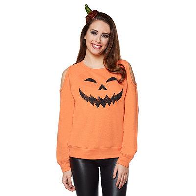 Vintage Retro Halloween Themed Clothing Cold Shoulder Pumpkin Sweatshirt $26.99 AT vintagedancer.com