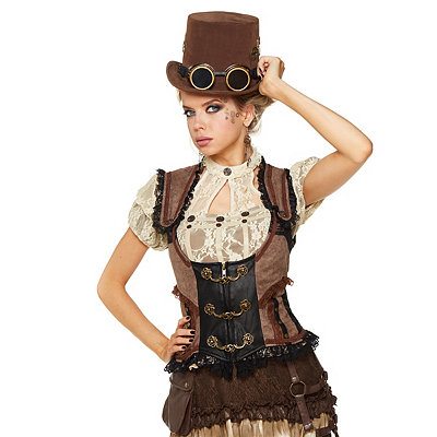 Vintage Inspired Lingerie Steampunk Corset Vest $44.99 AT vintagedancer.com