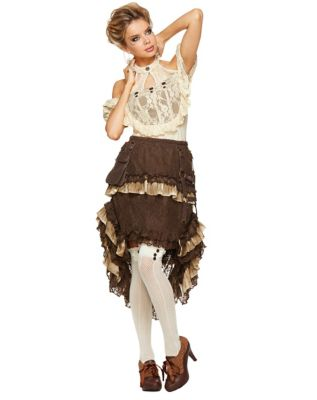 Steampunk Skirts   Bustle Skirts, Lace Skirts, Ruffle Skirts Tiered Lace Steampunk Skirt by Spirit Halloween $49.99 AT vintagedancer.com