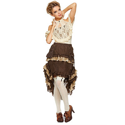 Victorian Steampunk Clothing & Costumes for Ladies Tiered Lace Steampunk Skirt $49.99 AT vintagedancer.com
