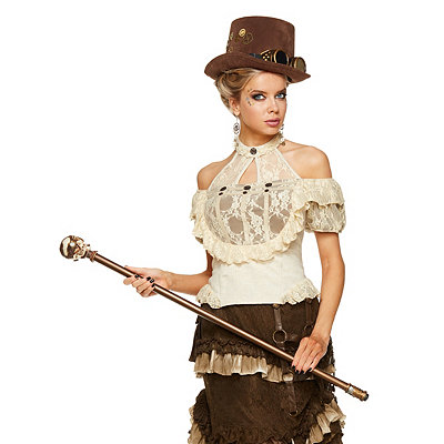 Victorian Steampunk Clothing & Costumes for Ladies Lace Off-the-Shoulder Steampunk Shirt $32.99 AT vintagedancer.com
