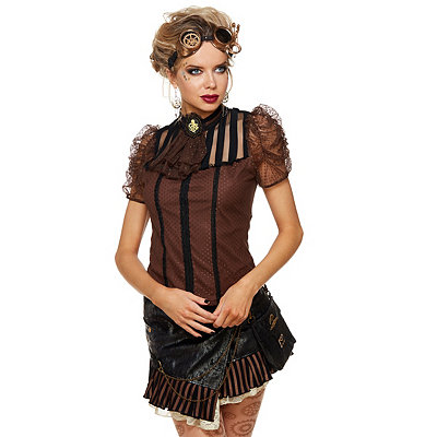 Steampunk Tops | Blouses, Vests, Crops, Shrugs Octopus Cameo Steampunk Shirt $32.99 AT vintagedancer.com