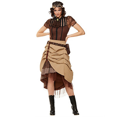 Victorian Steampunk Clothing & Costumes for Ladies Steampunk Long Ruffle Skirt $49.99 AT vintagedancer.com
