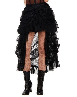 Steampunk Skirts   Bustle Skirts, Lace Skirts, Ruffle Skirts Black Lace Steampunk Skirt by Spirit Halloween $44.99 AT vintagedancer.com