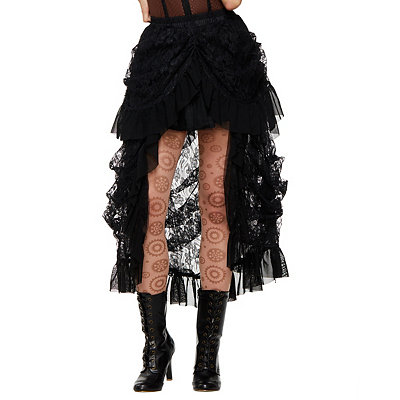 Victorian Steampunk Clothing & Costumes for Ladies Black Lace Steampunk Skirt $39.99 AT vintagedancer.com