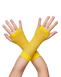 Yellow Fishnet Gloves