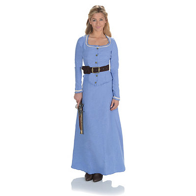 Victorian Edwardian Tea Dress and Gown Guide Adult Blue Western Dress $44.99 AT vintagedancer.com