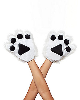White Faux Fur Animal Paw Gloves