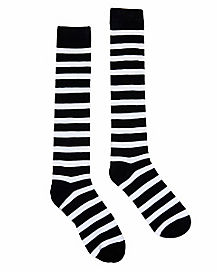 Black and White Knee-high Striped Socks