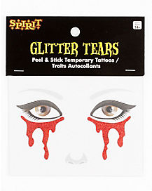 Red Glitter Tears Face Decal